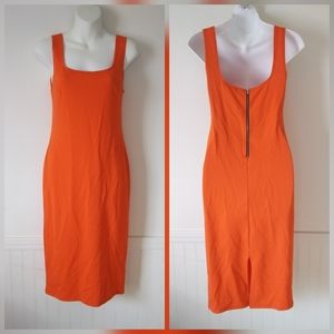 ⛄ Popular Basics Orange Slimming Curve Midi Dress